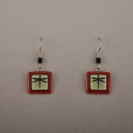 Dragon Fly Dangle Earrings With Red Boarder