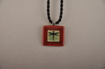 Square Dragonfly Red Boarder Necklace